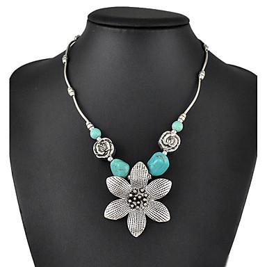 femme turquoise pendentif de collier colliers d claration turquoise goutte fleur. Black Bedroom Furniture Sets. Home Design Ideas