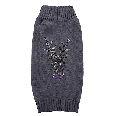 cheap Dog Clothing & Accessories-Cat Dog Coat Sweater Dog Clothes Sequin Gray Spandex Cotton / Linen Blend Costume For Spring &  Fall Winter Party Cosplay Casual / Daily