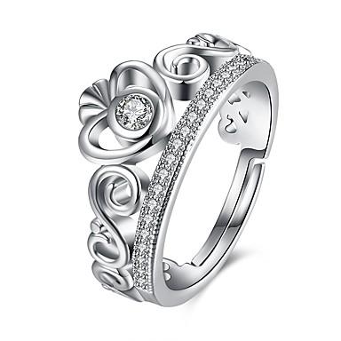 Damen Strass vergoldet Herz Kronenform Stulpring - Kronenform Modisch Silber Ring Für Hochzeit Alltag Normal