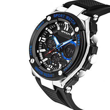 SANDA Pánské Sportovní hodinky Vojenské hodinky Náramkové hodinky Digitální Silikon Černá 30 m Voděodolné Kalendář kreativita Digitální Přívěšky Luxus Na běžné nošení Módní Elegantní - Zlatá Čern