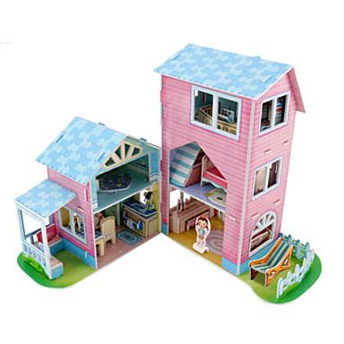 قطع تركيب3D تركيب بيت اللعبة نموذج الورق بناء مشهور معمارية 3D الخشب الطبيعي العرائس للجنسين هدية