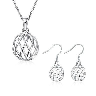 Damen versilbert Schmuck-Set - Grundlegend Kreisform Silber Tropfen-Ohrringe Halskette Für Party Alltag Normal
