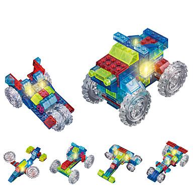 DOUZHI لعبة سيارات إضاءةLED أحجار البناء ألعاب تربوية 74pcs شاحنة شاحنة للجنسين هدية