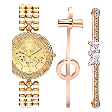 Damen Armbanduhr Armband-Uhr Quartz Edelstahl Band Kreativ Gold