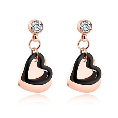 Pentru femei Boem Inimă Zirconiu Cubic Placat Auriu Cercei Stud - Boem / Modă Roz auriu cercei Pentru Crăciun / Nuntă / Petrecere