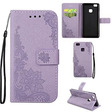 hoesje Voor Huawei P9 Lite Huawei Huawei P8 Lite Kaarthouder Portemonnee met standaard Flip Reliëfopdruk Volledig hoesje Bloem