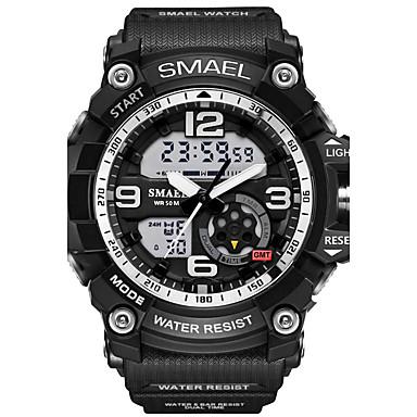 저렴한 최고 판매-SMAEL 남성용 스포츠 시계 손목 시계 디지털 시계 디지털 고무 블랙 30 m 방수 알람 LED 아날로그-디지털 위장 패션 - 밝은 블루 카키 위장 그린 2 년 배터리 수명 / 야광의 / 듀얼 타임 존 / Maxell SR626SW + CR2025
