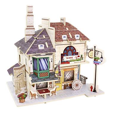قطع تركيب3D تركيب بيت معمارية 3D اصنع بنفسك خشب الخشب الطبيعي عيد ميلاد 6 سنوات فما فوق