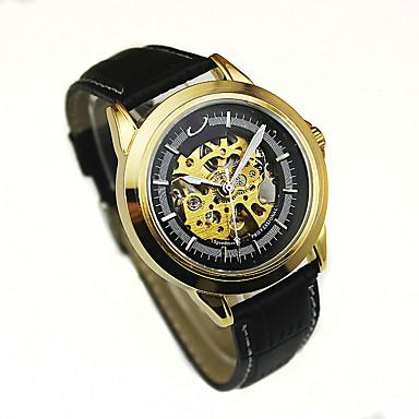 Bărbați Ceas La Modă ceas mecanic Mecanism manual Piele Bandă Negru