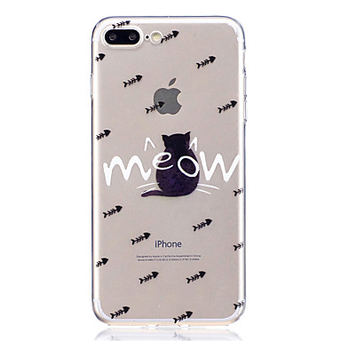 Maska Pentru Apple iPhone 7 Plus iPhone 7 Transparent Model Capac Spate Pisica Cuvânt / expresie Animal Moale TPU pentru iPhone 7 Plus