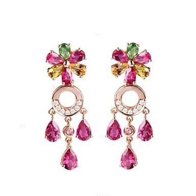 Pentru femei Cercei Picătură La modă bijuterii de lux stil minimalist Clasic Bling bling Placat Cu Aur Roz Flower Shape Bijuterii Pentru