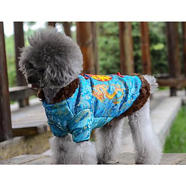 Hund Mäntel Hundekleidung Warm Neujahr Buchstabe & Nummer Gelb Blau Kostüm Für Haustiere