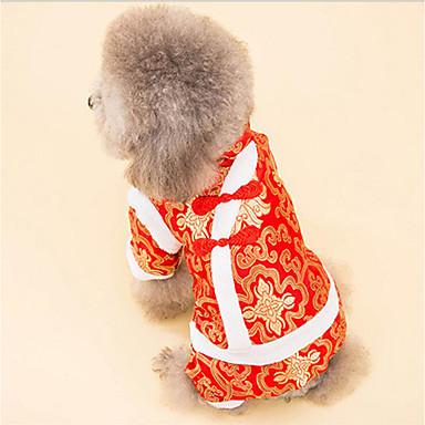 Câine Salopete Îmbrăcăminte Câini Cald Respirabil Casul/Zilnic Anul Nou Brodat Alb Negru Costume Pentru animale de companie