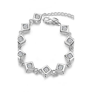 Pentru femei Fete Cristal Cristal Argilă Brățări cu Lanț & Legături - Γεωμετρικά Prietenie Modă stil minimalist Pătrat Argintiu Brățări