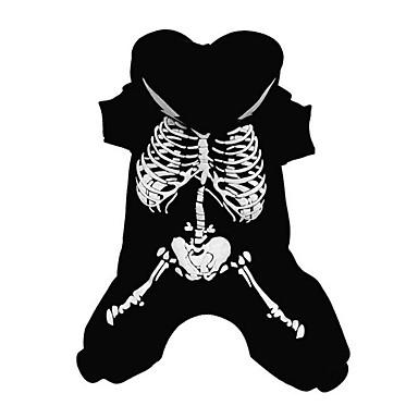 كلب ازياء تنكرية ملابس الكلاب عظم أسود / أحمر قطن كوستيوم للحيوانات الأليفة للرجال / للمرأة Halloween / رأس السنة