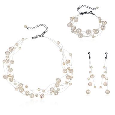 Pentru femei Perle Perle Set bijuterii - Modă neregulat Alb Cercei Picătură Brățară Lănțișor Pentru Nuntă Petrecere