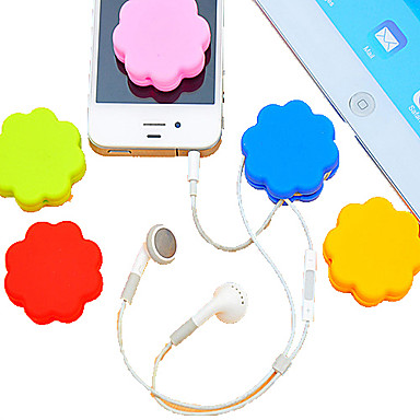 abordables Organizadores para Cables-Plum Blossom Sillicone Cartoon Earphone Cable Wire Cord Organizer Cable Winder