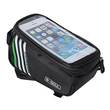 B-SOUL Waterproof حقيبة دراجة حقيبة دراجة الإطار حقيبة الهاتف الخليوي 5.7 بوصة يمكن ارتداؤها حامل Iphone الشاشات التي تعمل باللمس ركوب