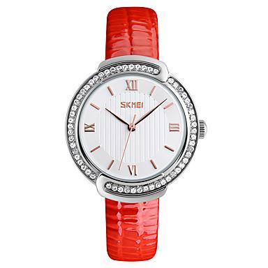 SKMEI Dames Kwarts Polshorloge Japans Waterbestendig Creatief Cool Leer Band Luxe Informeel Gesimuleerde Diamond Watch Zwart Wit Orange