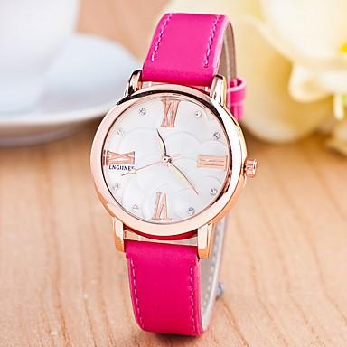 Dames Modieus horloge Kwarts s Nachts oplichtend Leer Band Informeel Zwart Wit Blauw Rood Orange Roze roze