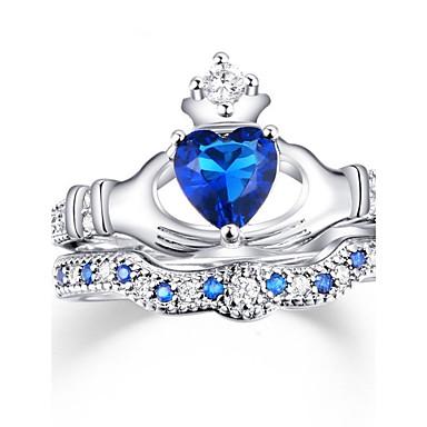 للمرأة ترف مكعب زركونيا زركون سبيكة قلب عصابة الفرقة - قلب مخصص ترف كلاسيكي أساسي مثيرة حب أنيقة اسلوب لطيف موضة أزرق البحرية حلقة من أجل