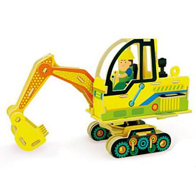 لعبة سيارات قطع تركيب3D تركيب آلات الحفر خشبي الخشب الطبيعي سيارة الحفريات للأطفال للجنسين هدية