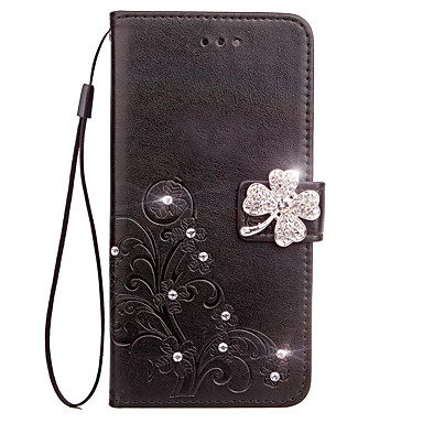 Case For Sony Xperia Z3 Compact Sony Xperia Z5 Compact Sony Card Holder Wallet Rhinestone with Stand Flip Embossed Full Body Cases Flower