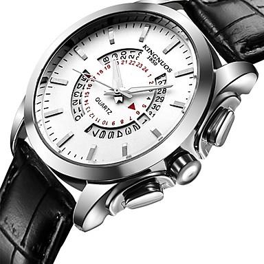 levne Pánské-Pánské Hodinky na běžné nošení Sportovní hodinky Módní hodinky Křemenný Kůže Černá / Hnědá Voděodolné kreativita Cool Analogové Luxus Klasické Na běžné nošení Elegantní - Hnědá Černá / Bílá Bíl