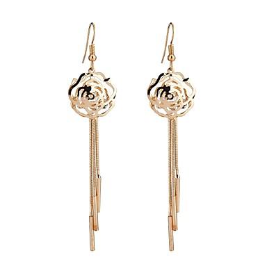 Pentru femei Ciucure Floare Cristal / Ștras Diamante Artificiale Cercei Picătură - Ciucure / Bling bling / Modă Auriu cercei Pentru