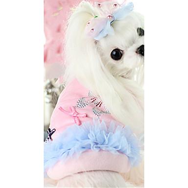 كلب سترة ملابس الكلاب دافئ كاجوال/يومي ببيونة أزرق زهري كوستيوم للحيوانات الأليفة