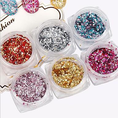 6pcs pinpai unghii art folie sequin argint sclipici aur folie culoare unghie sclipici mici hexagon unghii unghii salon de unghii