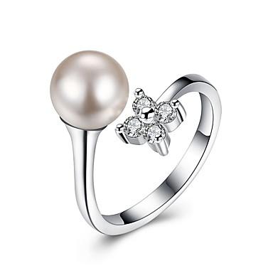 Pentru femei manşetă Ring Zirconiu Cubic Modă Argint Imitație de Perle Circle Shape Floare Bijuterii Petrecere Zi de Naștere Alte Logodnă