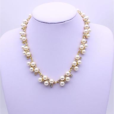 Pentru femei Diamant sintetic Imitație de Perle Lănțișoare  -  Clasic Modă Geometric Shape Auriu Argintiu Coliere Pentru Petrecere Cadou