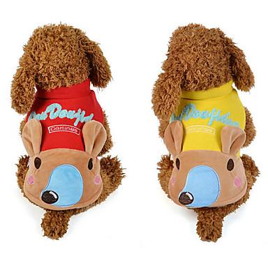 كلب سترة ملابس الكلاب حيوان أصفر أحمر قطن بطانة فرو كوستيوم للحيوانات الأليفة للرجال للمرأة كاجوال / يومي