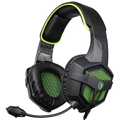 SADES SA-807 فوق الأذن عقال سلكي Headphones ديناميكي بلاستيك الألعاب سماعة عزل الضوضاء مع ميكريفون مع التحكم في مستوى الصوت سماعة