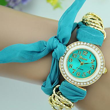 Damen Armband-Uhr Modeuhr Quartz Stoff Band Freizeit Schwarz Weiß Rot Braun Grün Gelb Rose