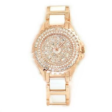 Pentru femei Simulat Diamant Ceas Ceasuri Pave Quartz Aliaj Bandă Auriu