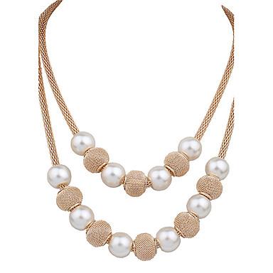 Pentru femei Lănțișoare / Coliere Layered - Imitație de Perle, Placat Auriu Leaf Shape Lux, Vintage, Modă Auriu Coliere Pentru Nuntă, Petrecere, Zi de Naștere
