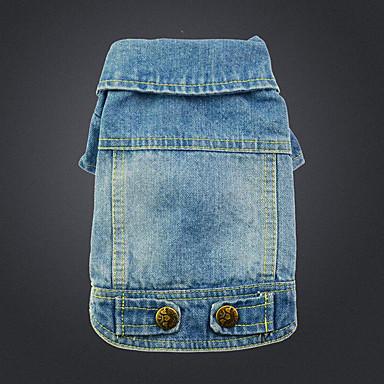 كلب جواكيت جينز ملابس الكلاب كاجوال/يومي جينزات أزرق قوس قزح كوستيوم للحيوانات الأليفة