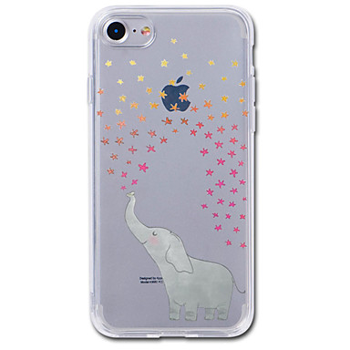 voordelige iPhone 5 hoesjes-hoesje Voor iPhone 7 / iPhone 7 Plus / iPhone 6s Plus iPhone SE / 5s Transparant / Patroon Achterkant Cartoon / Olifant Zacht TPU