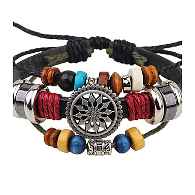 Men's Leather Bracelet Handmade Adjustable Leather Alloy Round Jewelry For Casual Stage