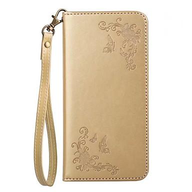 Pentru iPhone X iPhone 8 iPhone 8 Plus Carcase Huse Titluar Card Întoarce Embosat Model Corp Plin Maska Fluture Floare Greu PU Piele