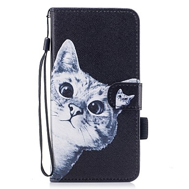 Capinha Para Apple iPhone 7 Plus iPhone 7 Porta-Cartão Carteira Com Suporte Flip Magnética Estampada Capa Proteção Completa Gato Rígida