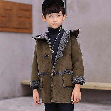 cheap Boys' Jackets & Coats-Kids Boys' Solid Colored Long Sleeve PU Cotton Suit & Blazer Green