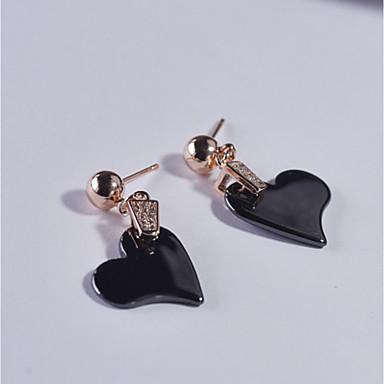 Pentru femei Cercei Stud Zirconiu Cubic Hipoalergenic stil minimalist China Plastic Heart Shape Bijuterii Pentru Zilnic