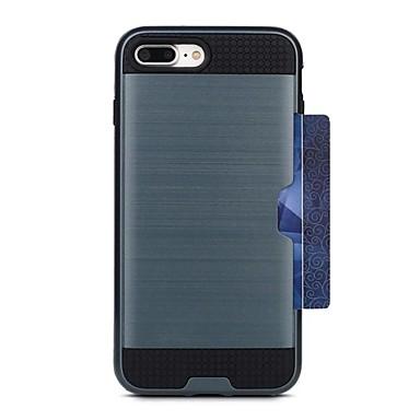 Maska Pentru Apple iPhone 7 Plus iPhone 7 Titluar Card Capac Spate Culoare solidă Greu PC pentru iPhone 7 Plus iPhone 7 iPhone 6s Plus