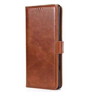 Недорогие Чехлы и кейсы для Galaxy Note 4-Кейс для Назначение SSamsung Galaxy Note 8 / Note 5 / Note 4 Кошелек / Бумажник для карт / со стендом Чехол Однотонный Твердый Настоящая кожа