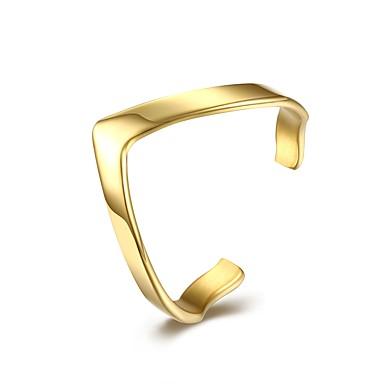 Pentru femei manşetă Ring Bijuterii Personalizat Cute Stil Deschis La modă Ajustabile Oțel titan Argilă Placat Auriu Geometric Shape