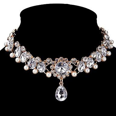 billige Mote Halskjede-Dame Syntetisk Diamant Choker Halskjede Dråpe Personalisert Klassisk Zirkonium Legering Gull Halskjeder Smykker Til Bryllup Fest