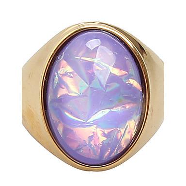 Kadın's Titanyum Çelik Yüzük / Bildiri Yüzüğü - Moda Mor / Sarı halka Uyumluluk Günlük